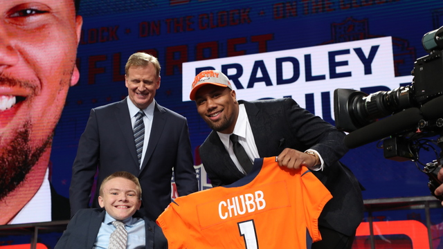 After being picked No. 5 overall, Bradley Chubb receives a message from his mom and dad