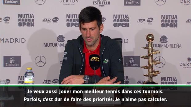 : Madrid - Djokovic - 'L'objectif ? Atteindre mon meilleur niveau pour les Grands Chelems'