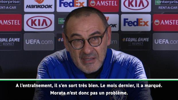 Groupe L - Sarri - 'Morata a marqué avec sa nouvelle coupe de cheveux'