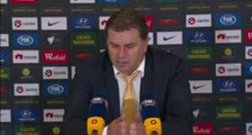 Coach Ange Postecoglou discusses his side's 7-0 rout of Tajikistan in Adelaide on Thursday night.