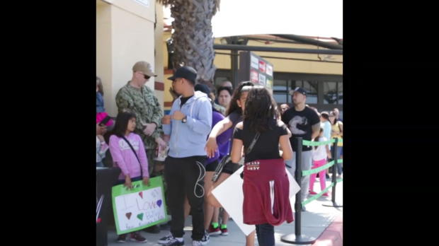 Bayley and Charly Caruso visit Naval Air Station North Island on behalf of Cricket Wireless