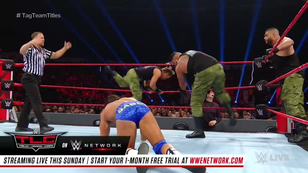 Bobby Roode & Chad Gable vs. AOP & Drake Maverick - Raw Tag Team Championship 2-on-3 Handicap Match: Raw, Dec. 10, 2018