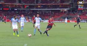 Brendon Santalab netted all three goals as Western Sydney Wanderers downed Melbourne City 3-1 at Spotless Stadium.