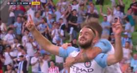 Melbourne City defender Ivan Franjic swept home a majestic volley to open the scoring against the Wanderers at AAMI Park.