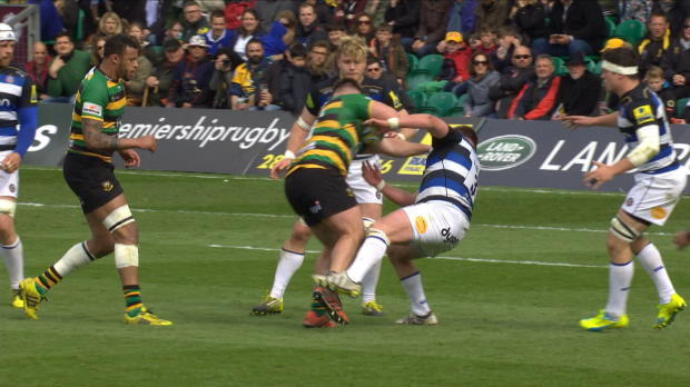 Aviva Premiership - Kieran Brookes flattens fellow front rower Davey Wilson in Northampton Saints' narrow win over Bath at Franklin?s Gardens