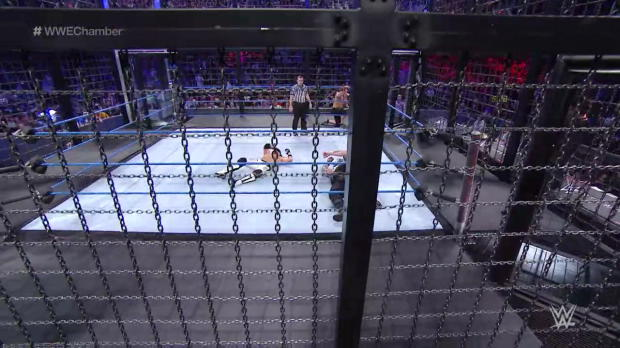John Cena leaps from an Elimination Chamber pod: Elimination Chamber 2017