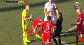 Brisbane Roar goalkeeper Michael Theo was shown a late red card for an incident against Adelaide United on Sunday.