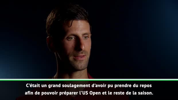 : Cincinnati - Djokovic - 'Un grand soulagement d'avoir pu prendre du repos'