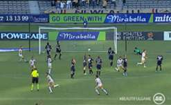 Newcastle Jets legend Joel Griffiths sends a cracking free-kick into the back of the net against Melbourne Victory at Etihad Stadium