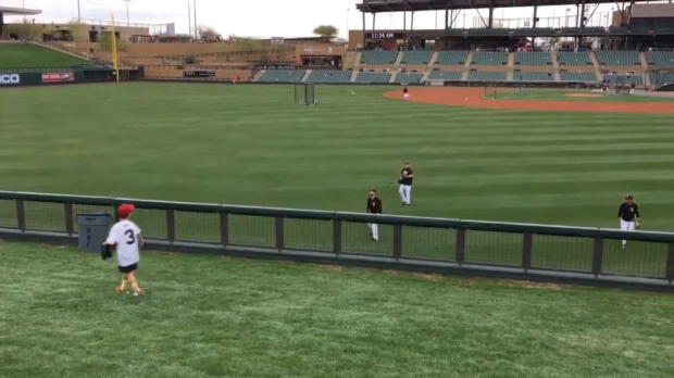 Bambino gioca a baseball con i suoi beniamini