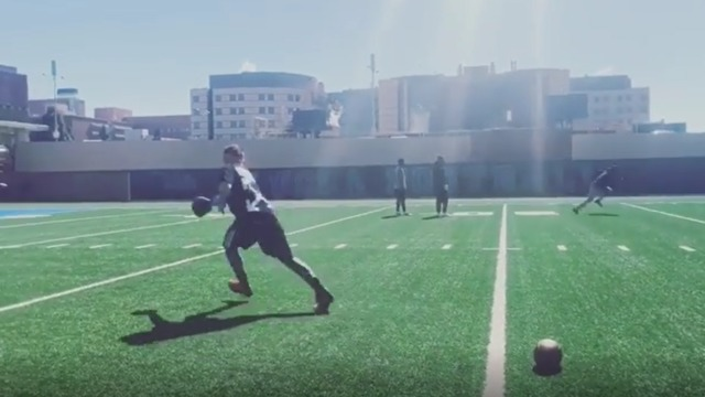 Johnny Manziel shows off his throwing arm