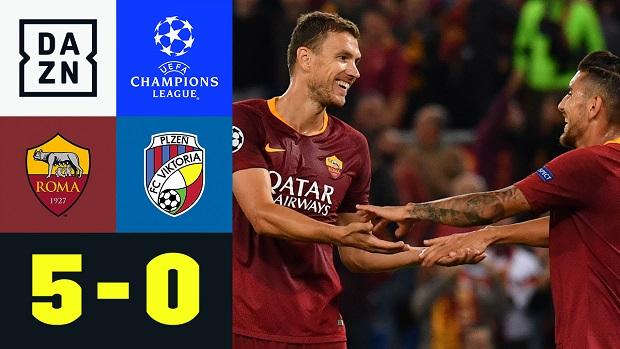 UEFA Champions League: AS Rom - Viktoria Pilsen | DAZN Highlights