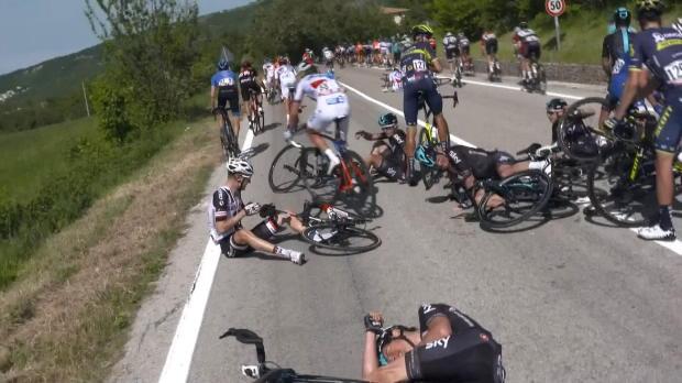 Giro - Landa y Thomas sufren una espectacular caída