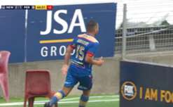 Newcastle Jets fans got more than they bargained for when they joined in celebrations of their side's second goal.