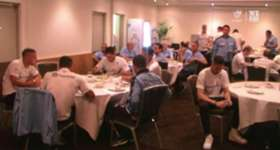 Here's the moment Sydney FC won the Premier's Plate last night during the team meal in Perth and a message from Head Coach Graham Arnold that we're not finished yet.