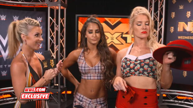 Aliyah & Lacey Evans celebrate shattering the dreams of Dakota Kai & Deonna Purrazzo: WWE.com Exclusive, Sept. 19, 2018