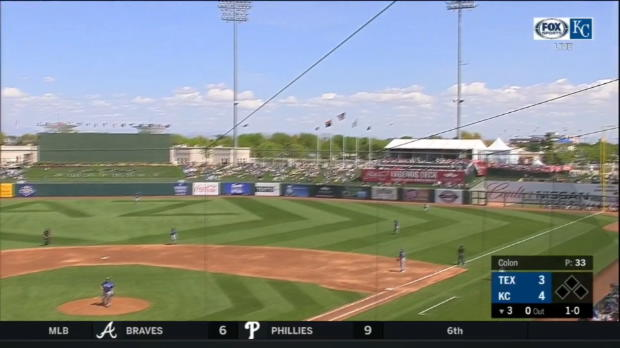 Moustakas' first spring home run