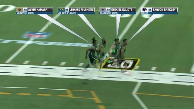 Alvin Kamara Career Stats >> Video: Simulcam: Saquon Barkley vs. Leonard Fournette vs. Ezekiel Elliot vs. Alvin Kamara