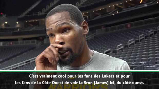 """Basket : Golden State - Durant - """"C'est cool de voir LeBron à l'Ouest"""""""