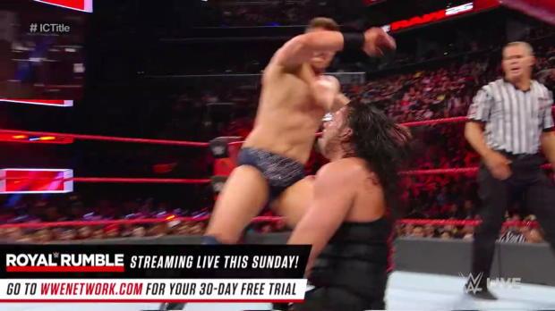 Roman Reigns vs. The Miz - Intercontinental Championship Match: Raw 25, Jan. 22, 2018