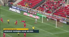 Adelaide moved off the bottom with a 2-0 win over Wellington Phoenix on Sunday.