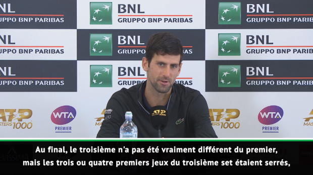 "Tennis : Rome - Djokovic - ""Nadal était trop fort aujourd'hui"""