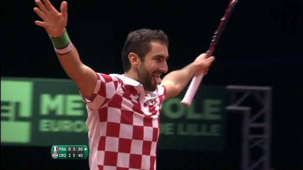 Tennis : Finale - Plus fort que Pouille, Cilic offre un 2e sacre à la Croatie