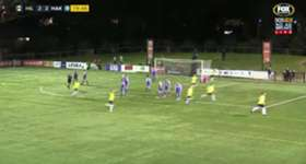 Hills United's Bradley Roberston netted a stunning free kick to hand his side a 3-2 lead over Hakoah Sydney City in the Round of 32.