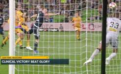 Melbourne Victory scored twice in each half to beat Perth Glory 4-1 at AAMI Park on Saturday night.
