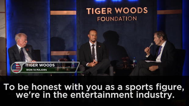 We're in the entertainment business as sportsmen - Tiger Woods