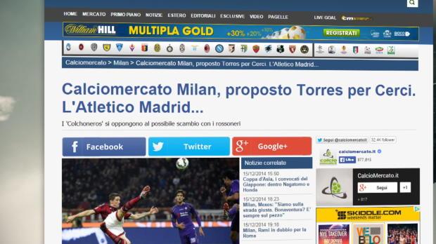 El Atlético rechaza un trueque Torres-Cerci
