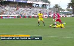 Bruno Fornaroli netted a double as Melbourne City downed Central Coast Mariners 3-2 in Gosford on Sunday afternoon.