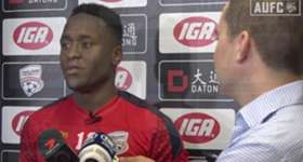 Following his late winner against Melbourne City on Thursday night, Mark Ochieng fronted the media at Coopers Stadium.
