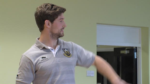 Aviva Premiership - Saints centre Dom Waldouck and his support The Cube Disability