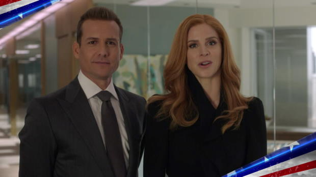 "Gabriel Macht and Sarah Rafferty from USA's ""Suits"" join WWE in paying tribute to the U.S. military"
