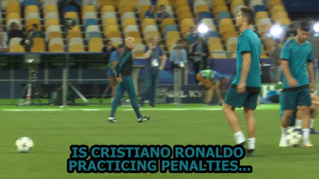 Cristiano Ronaldo practicing penalties in Kiev ahead of UCL final Thumbnail
