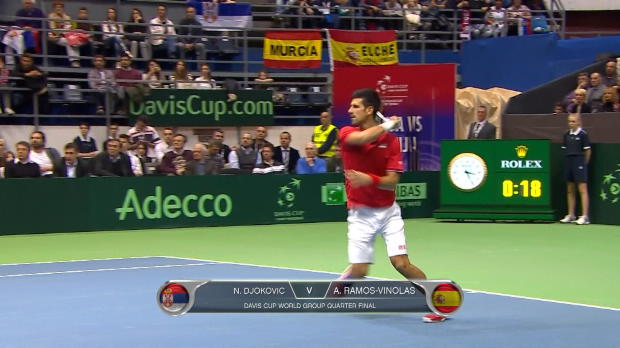 Stunning Djokovic eases Serbia into 2-0 lead