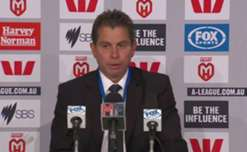 Sydney FC coach Frank Farina addresses the press following his teams 2-1 loss to Melbourne Heart.