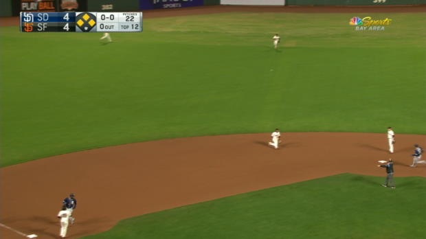 Reyes hit by batted ball in 12th