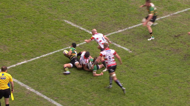 Aviva Premiership - John Afoa shows off his soccer skills with a fine grubber kick against Northampton