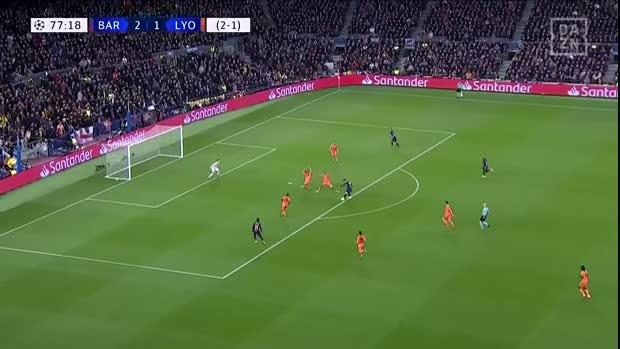 Messi zaubert in Lyons Strafraum   UEFA Champions League
