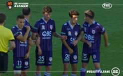 Melbourne City's Aaron Mooy curled home an exquisite free-kick against Glory.