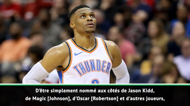 "Basket : NBA - Westbrook - ""Honoré et touché"" d'égaler Jason Kidd"