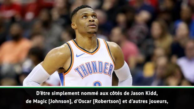 NBA - Westbrook - 'Honoré et touché' d'égaler Jason Kidd