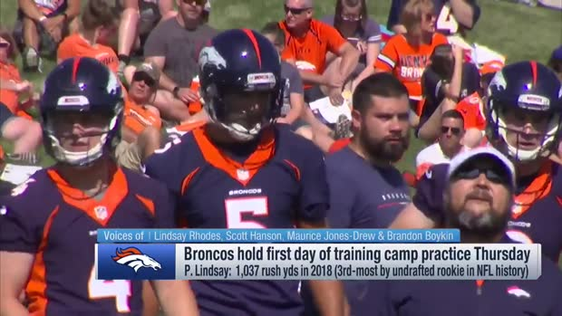 First look: Denver Broncos quarterback Joe Flacco, running back Phillip Lindsay take field at Broncos' training camp