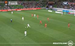 Josh Kennedy opened his goal account for Melbourne City with a thumping header against the Reds.
