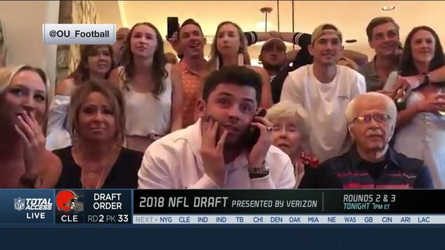 Baker Mayfield reacts to being selected No. 1 by Browns