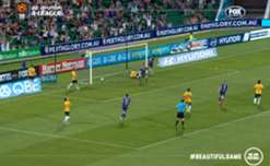 Young Glory striker Chris Harold netted a superb brace to help Perth to a thumping 4-1 win over Central Coast.