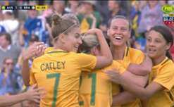 Lisa De Vanna opened the scoring for the Matildas just before the break with a stunning volley against Brazil.