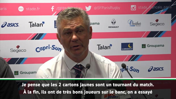Top 14 - 23e j. : Meyer : 'Les 2 cartons jaunes sont un tournant du match'
